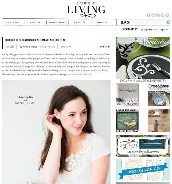 Avenue Lifestyle featured on Style Me Pretty Living