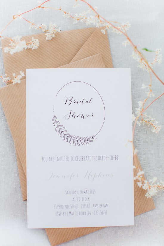 Floral Inspired Bridal Shower Inspiration // Styling and creative direction: Holly Marder {Avenue Lifestyle} / Photography: Anouschka Rokebrand / Stationary: Stijlvolle Trouwkaarten
